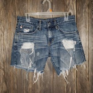 Adriano Goldschmied Cut Off Destroyed Jean Shorts